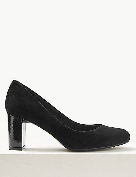 Suede Wide Fit Block Heel Court Shoes