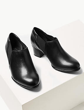 Leather Wide Fit Block Heel Loafers