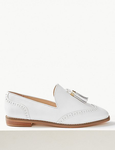 Wide Fit Leather Brogue Tassel Loafers