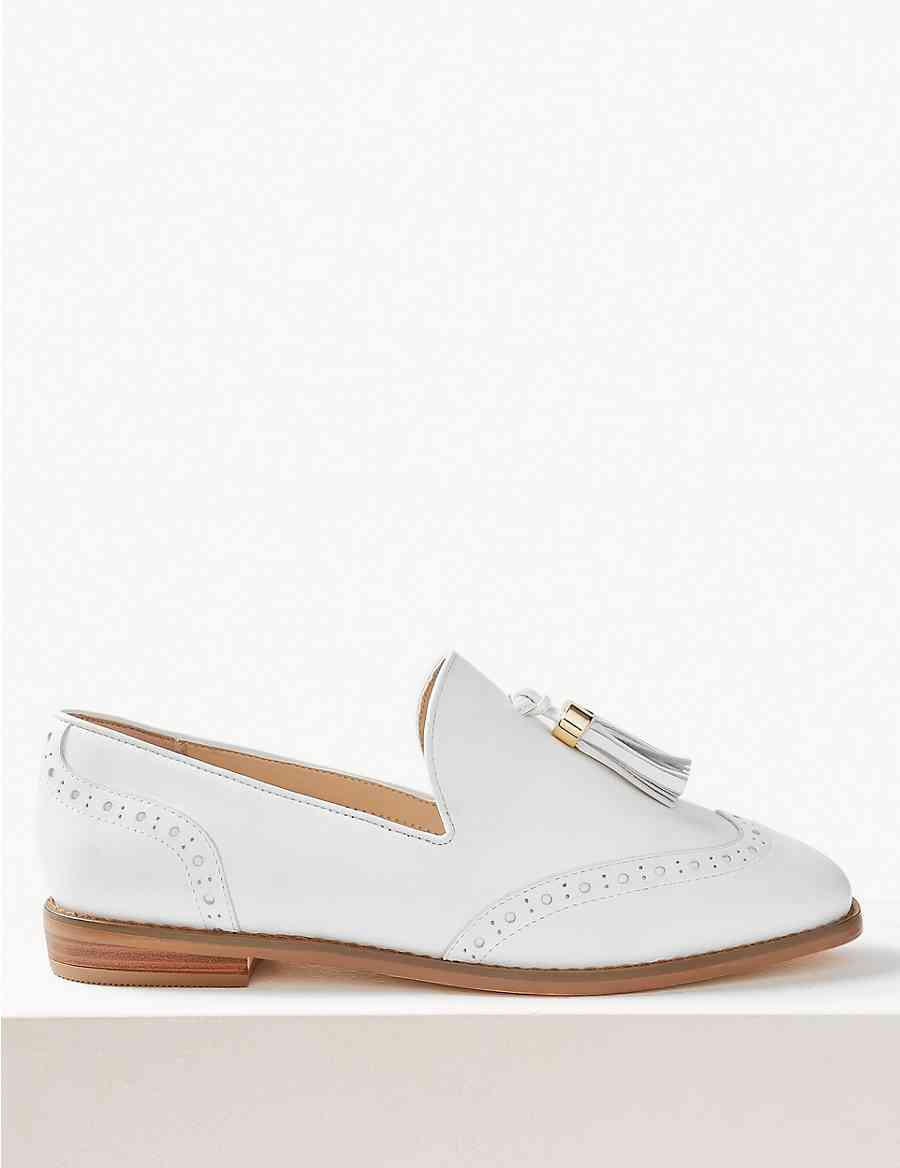 0505affd4d9 Wide Fit Leather Brogue Tassel Loafers
