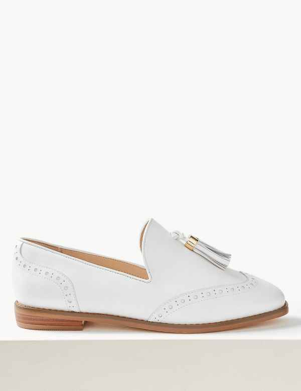 4fa30116add4 Wide Fit Leather Brogue Tassel Loafers