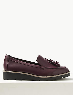 Leather Wide Fit Tassel Loafers