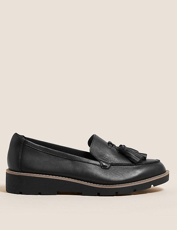 Wide Fit Leather Tassel Flatform Loafers