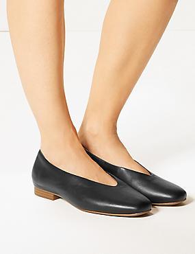 Wide Fit Leather Block Heel Ballerina Pumps