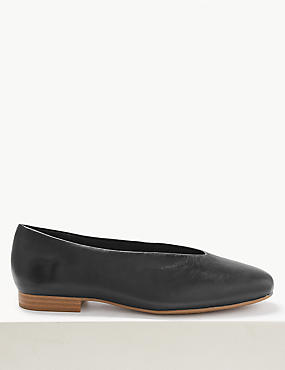 Wide Fit Leather Block Heel Ballerina Pumps