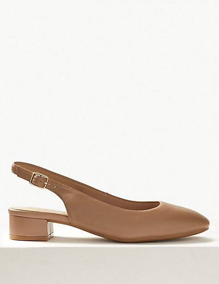 Wide Fit Leather Slingback Shoes