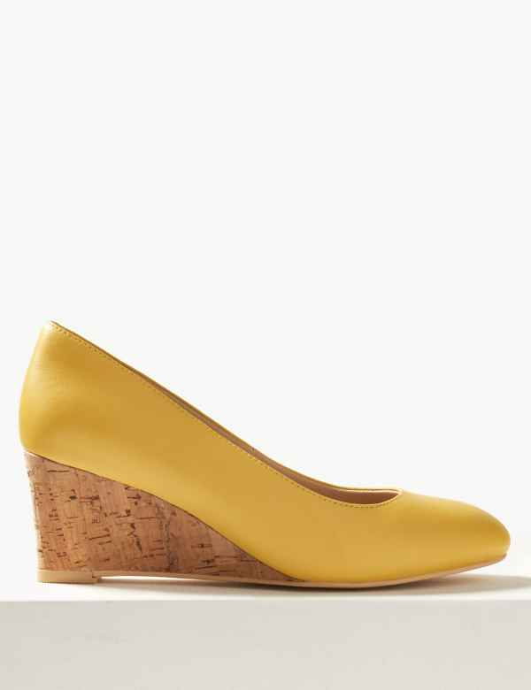 abcd3305b45 Leather Wide Fit Wedge Heel Court Shoes
