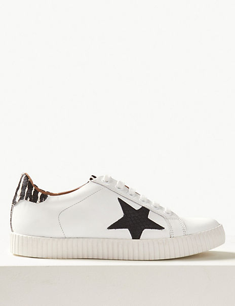 Wide Fit Leather Star Trainers