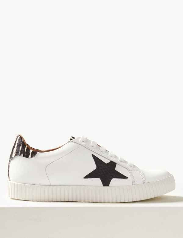 bbc1bc73b809 Wide Fit Leather Star Trainers. M&S Collection