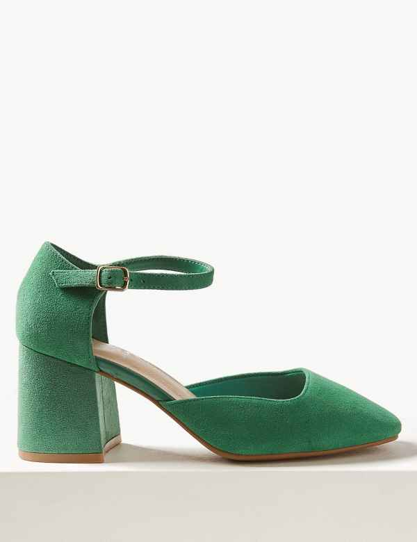 464b92a485 Wide Fit Suede Block Heel Court Shoes
