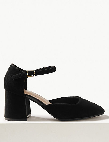 Wide Fit Suede Block HeelCourt Shoes