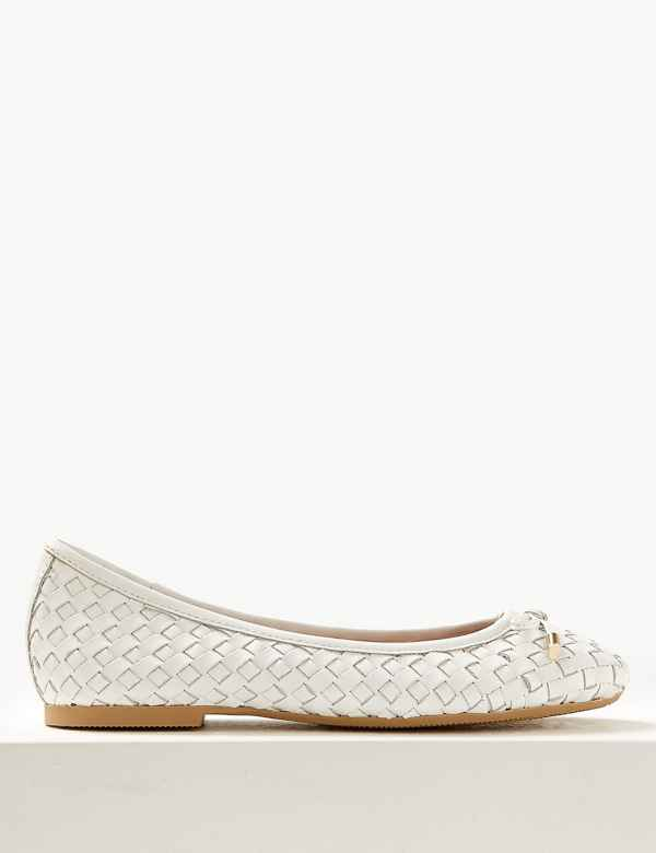 cb79ff83e45 Wide Fit Leather Weave Ballet Pumps
