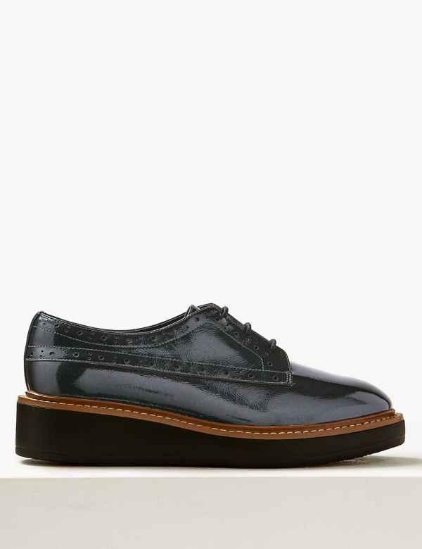 21af7d425d1 Wide Fit Leather Flatform Brogue Shoes