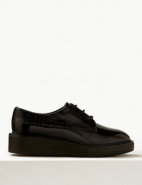 Wide Fit Leather Flatform Brogue Shoes