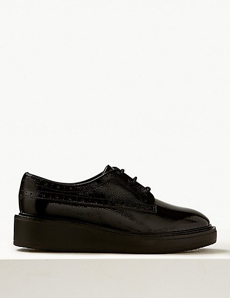 Wide Fit Leather Flatform Brogue Shoes