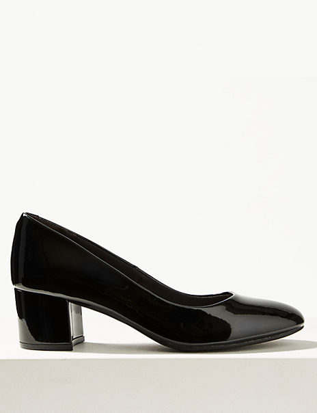 Wide Fit Leather Court Shoes