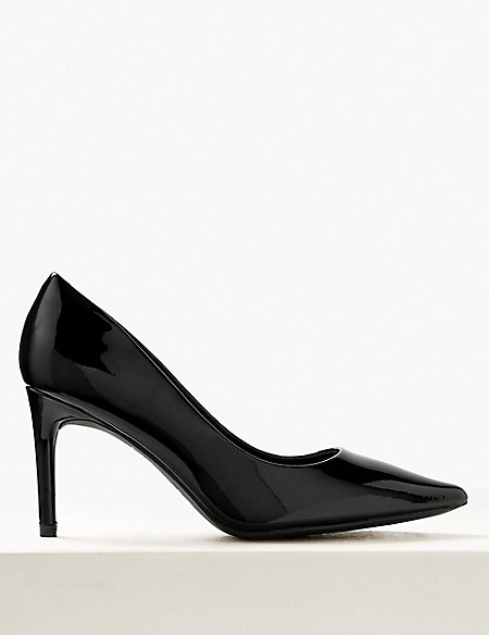 Wide Fit Leather Stiletto Heel Court Shoes