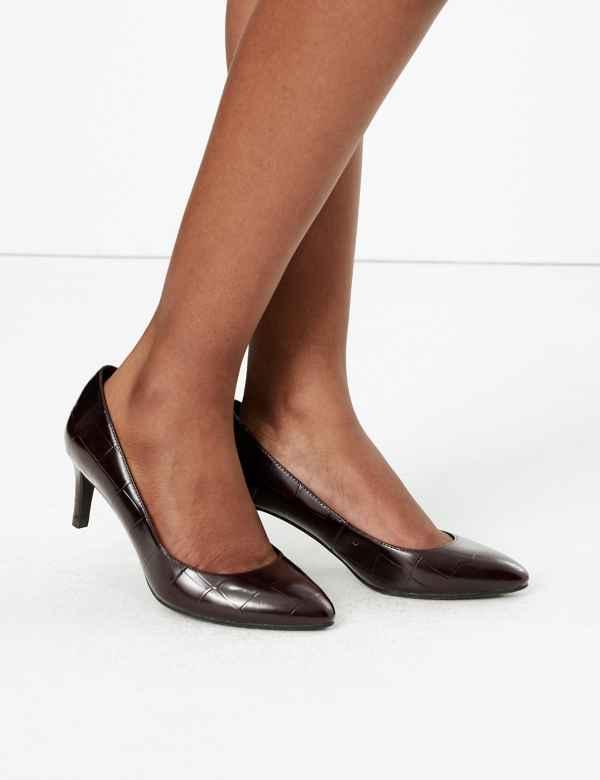 661f10ebdc9a Wide Fit Leather Kitten Heel Court Shoe
