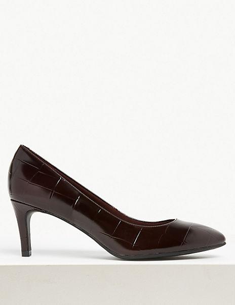 Wide Fit Leather Kitten Heel Court Shoe