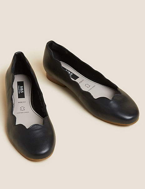 Wide Fit Leather Scalloped Ballet Pumps