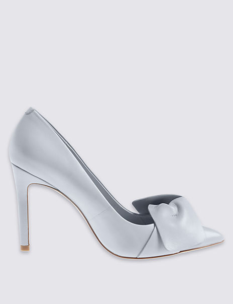 Leather Stiletto Bow Court Shoes