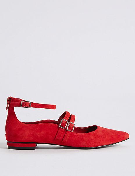 Suede Strap Pump Shoes