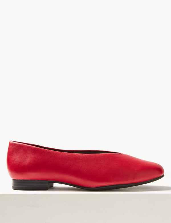f0abf0d0911ed1 Leather High Cut Ballerina Pumps