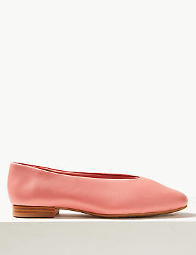 Leather High Cut Ballerina Pumps