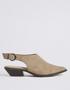 Suede Block Heel Slingback Shoes