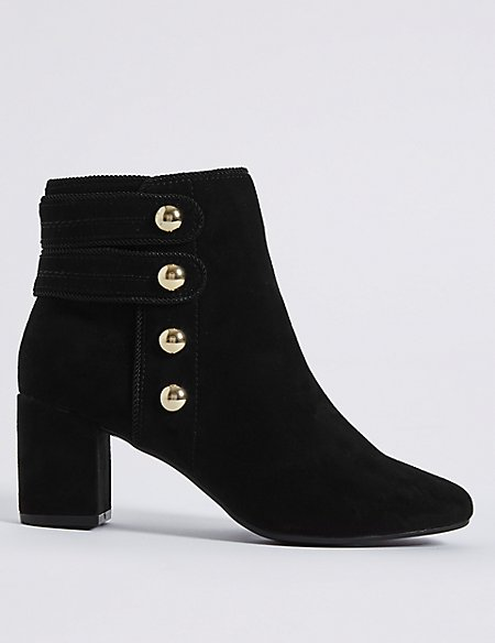 febe5653c3a Product images. Skip Carousel. Wide Fit Block Heel Four Button Ankle Boots