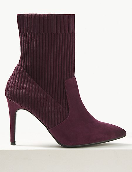 Wide Fit Knitted Sock Stiletto Ankle Boots
