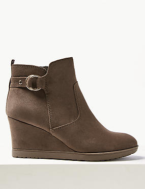 Wide Fit Wedge Heel Ankle Boots