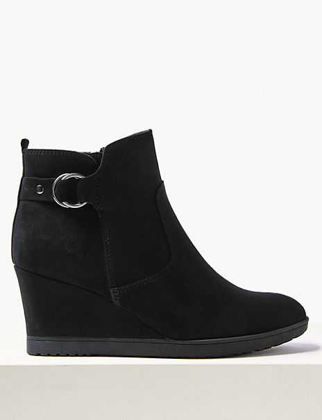 fc3e48d153 Wide Fit Wedge Heel Ankle Boots | M&S Collection | M&S