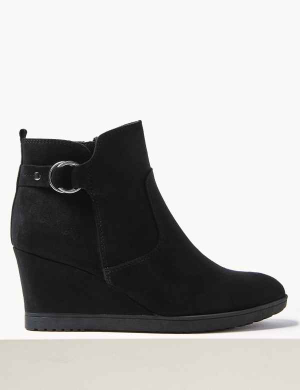 18ba44cb0839f Wide Fit Wedge Heel Ankle Boots