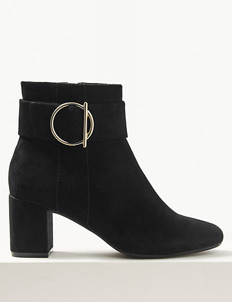 Wide Fit Side Buckle Ankle Boots