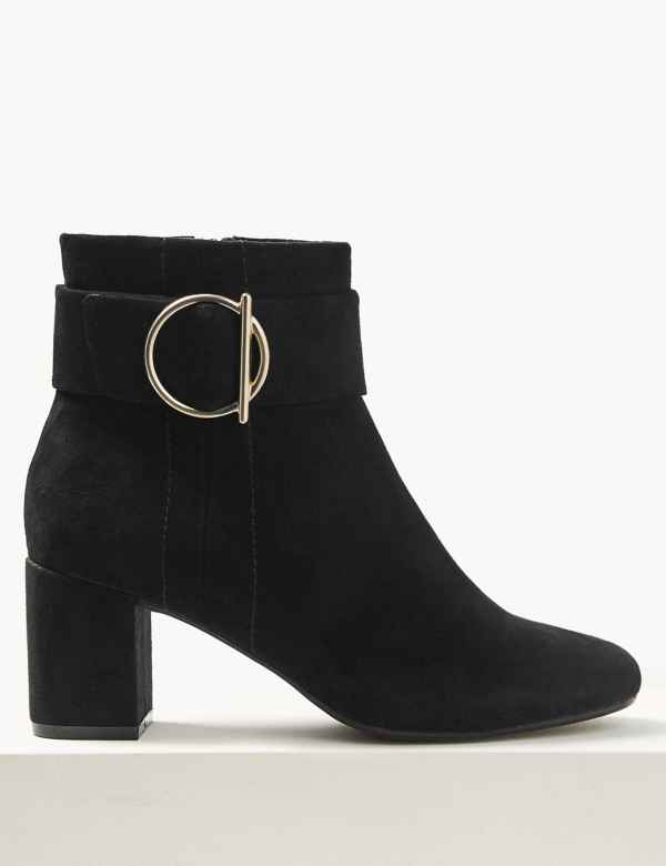0023ee07be Wide Fit Side Buckle Ankle Boots