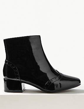 Wide Fit Block Heel Side Zip Ankle Boots