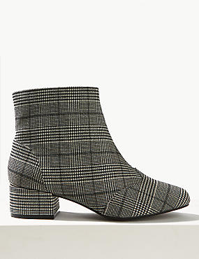 Extra Wide Fit Side Zip Block Ankle Boots