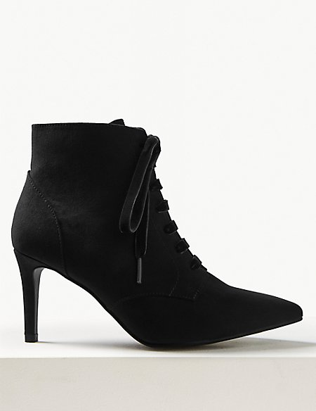 Extra Wide Fit Lace-up Stiletto Point Boots