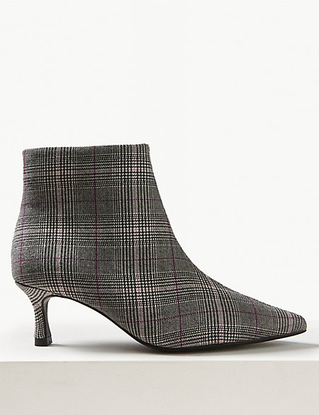 Wide Fit Checked Kitten Heel Ankle Boots
