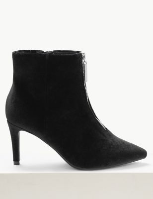 Extra Wide Fit Velvet Stiletto Ankle Boots by Marks & Spencer