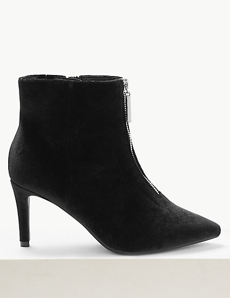Extra Wide Fit Velvet Stiletto Ankle Boots