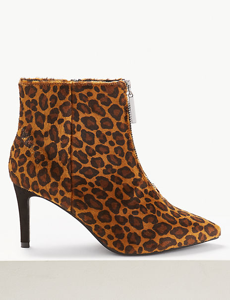 Extra Wide Fit Animal Print Stiletto Ankle Boots