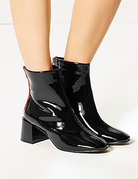 Wide Fit Patent Ankle Boots