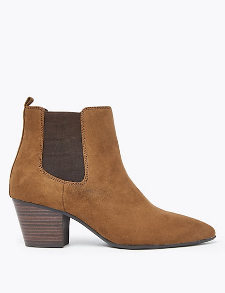 Wide Block Heel Pointed Toe Chelsea Boots