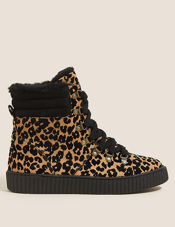 Wide Fit Animal Print Flatform Ankle Boots