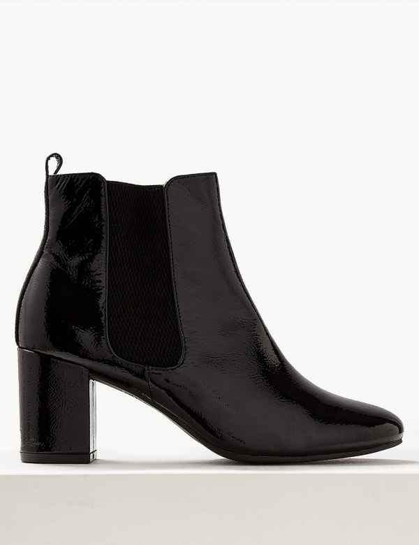 e6a63fb3cea1 Leather Block Heel Chelsea Ankle Boots