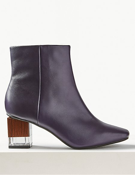 Feature Heel Leather Ankle Boots
