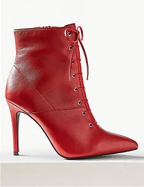 Leather Stiletto Heel Lace Up Ankle Boots