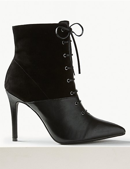 Leather Lace-Up Stiletto Ankle Boots
